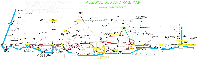 Faro Algarve Karta.Bus And Train Map For The Algarve