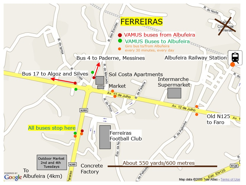Travel between Albufeira Bus Terminal and the rest of town around