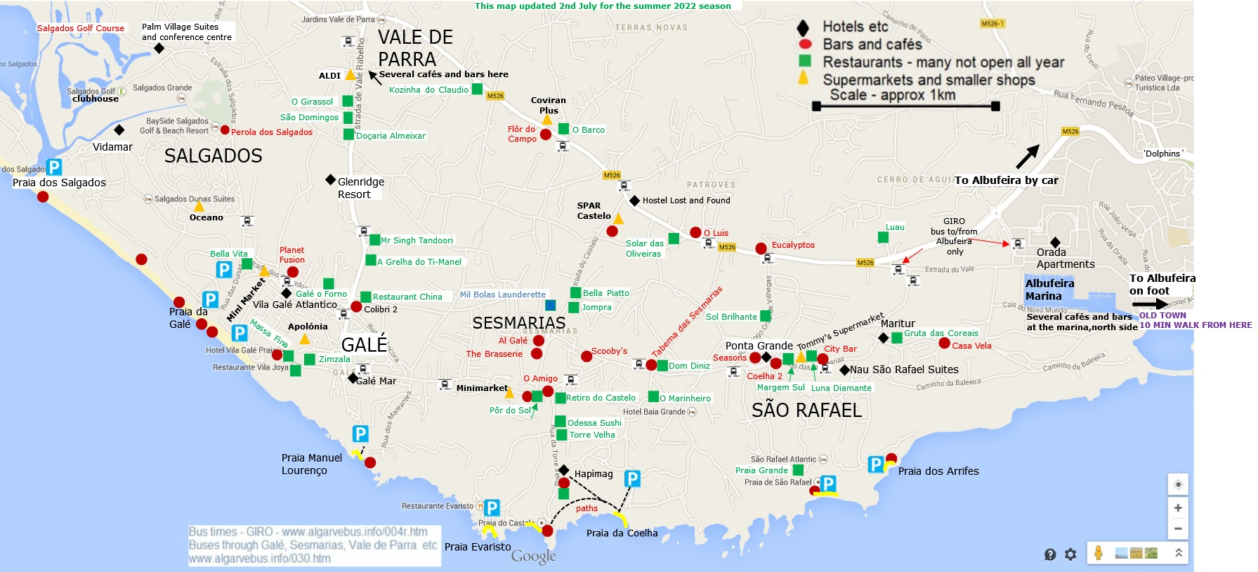 Map of Gal Salgados So Rafael and Sesmarias area of Albufeira