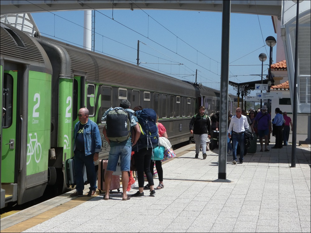 boarding the train at Albufeira